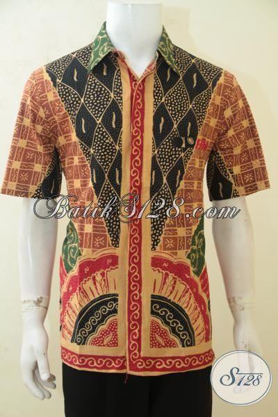 Baju Batik Klasik Desain Motif Modern, Busana Batik Tulis Lengan Pendek Kwalitas Premium Bikin Cowok Tampan Dan Menawan [LD4210T-L]
