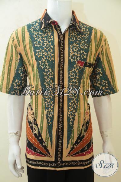 Kemeja Batik Motif Kombinasi, Busana Batik Elegan Proses Tulis Berpadu Warna Keren Banget Membuat Penampilan Cowok Makin Menawan, Size XL