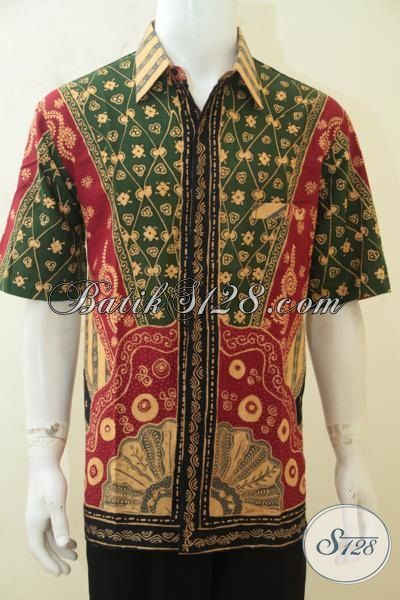 Busana Batik Solo Terbaru Hadir Dengan Kwalitas Yang Lebih Baik Berpadu Motif Klasik Masa Kini, Baju Batik Tulis Lengan Pendek Istimewa Cowok Tampan Mempesona [LD4214T-XL]