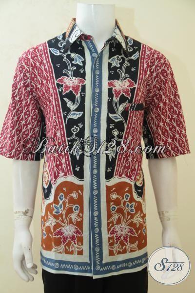 Jual Kemeja Batik Untuk Pria Gemuk, Hem Batik Ukuran 3L Proses Tulis Berpadu Motif Klasik Nan Elegan Berkelas [LD4216T-XXL]