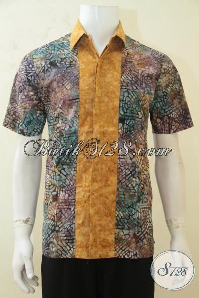 Hem Batik Pria Gradasi Berpadu Aksen Coklat, Pakaian Batik Lengan Pendek Modis Untuk Hangouts Dan Pas Buat Pesta [LD4236CS-L]
