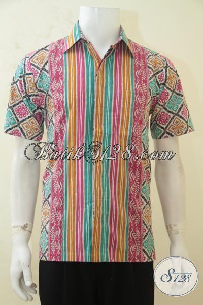 Hem Batik Jawa, Baju Batik Lengan Pendek, Berbahan Halus Proses Cap Tulis, Pria Tampil Lebih Keren [LD4237CT-S]