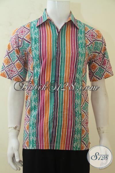 Hem Batik Pria Masa Kini Produk Asli Solo, Baju Batik Lengan Pendek Cap Tulis Kwalitas Premium Harga Minimum, Size M