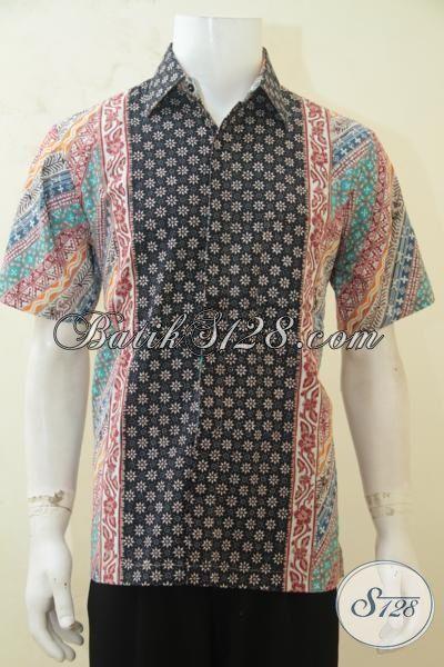 Baju Batik Cowok Tampil Tampan, Hem Batik Lengan Pendek Modern, Jual Online Batik Cap Tulis Motif Paling Baru Saat Ini [LD4245CT-M]