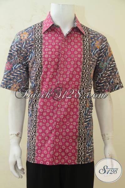 Busana Kerja Batik Model Lengan Pendek, Hem Batik Cap Tulis Tiga Motif, Busana Batik Kombinasi Warna Paling Di Sukai Anak Muda [LD4248CT-L]