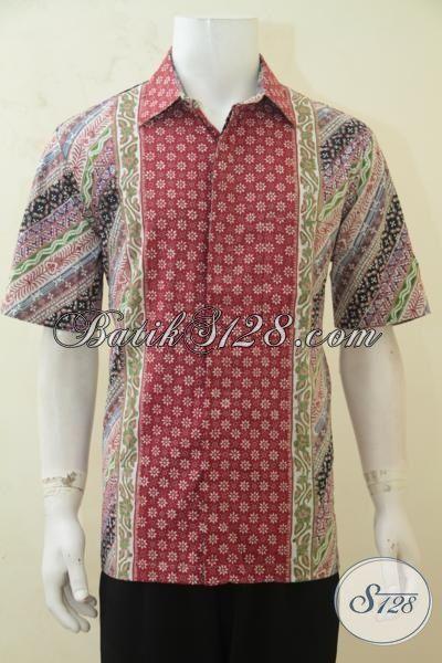 Sedia Baju Kerja Batik Bagus Berbahan Adem, Pakaian Batik Lengan Pendek Cap Tulis Anak Muda Makin Kece [LD4250CT-L]