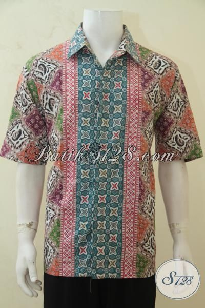 Hem Lengan Pendek Seragam Kerja Berbahan Batik Solo Proses Cap Tulis, Baju Batik Motif Trendy Penampilan Cowok Makin Tambah Kece, Size XL