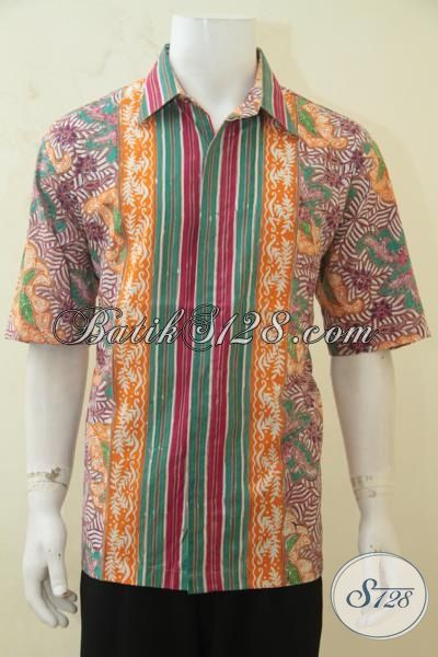 Baju Batik Halus Cap Tulis Lengan Pendek, Busana Batik Kerja Paling Keren Cocok Untuk Pria Muda Tampil Kece [LD4256CT-XL]