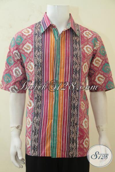 Baju Batik Buat Jalan-Jalan, Kemeja Lengan Pendek Cap Tulis Motif Keren, Batik Jawa Masa Kini Laki-Laki Tampil Menawan, Size XL