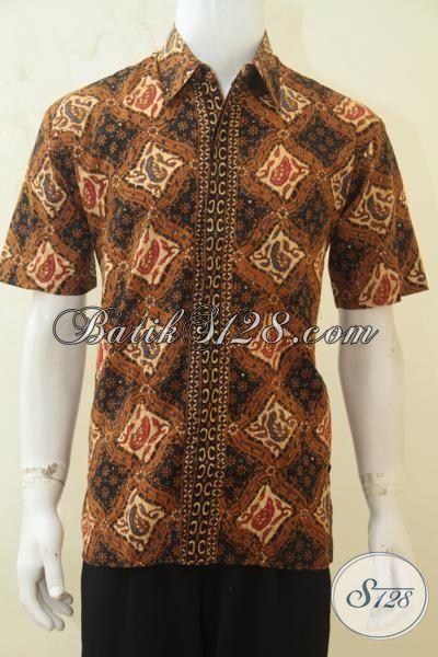 Jual Baju Kemeja Lengan Pendek Bahan Batik Solo Klasik, Pakaian Batik Masa Kini Yang Membuat Cowok Lebih Gagah Dan Tampan [LD4269CT-M]