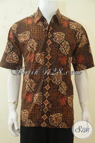 Batik Hem Klasik Proses Cap Tulis, Busana Batik Lengan Pendek Kwalitas Halus Tampil Menawan Dan Gagah, Size L