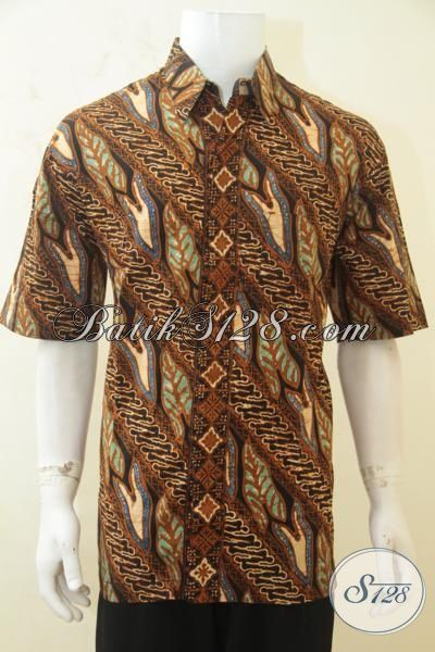Batik Parang Trendy, Busana Batik Klasik Lengan Pendek Khas Lelaki Muda, Batik Cap Tulis Produk Solo Jawa Tengah [LD4274CT-XL]