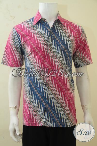 Hem Batik Kerja, Baju Batik Pesta, Buana Lengan Pendek Bahan Batik Cap Tulis Produk Solo Warna Trendy Cowok Makin Kece [LD4306CT-M]