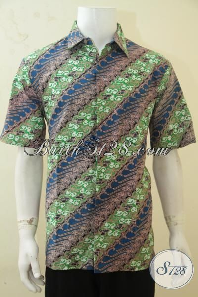 Batik Pria Masa Kini Tampil Makin Trendy, Hem Batik Lengan Pendek Motif Parang Berpadu Warna Elegan Nan Mewah, Baju Batik Solo Cap Tulis Kwalitas Premium [LD4308CT-L]