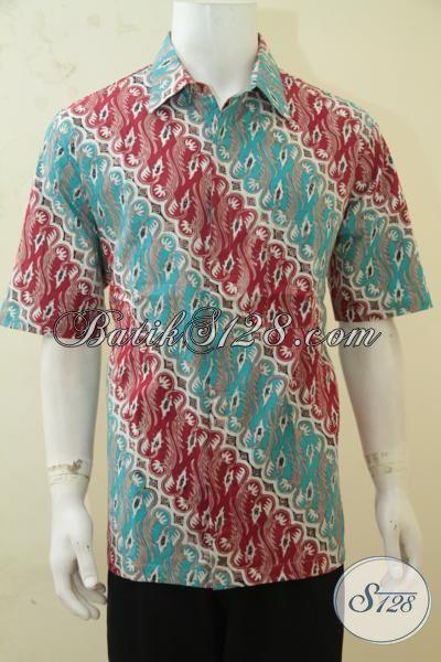 Batik Kemeja Untuk Tampil Keren, Busana Batik Lengan Pendek Cap Tulis, Baju Batik Parang Desain Kece Cowok Makin Oke [LD4311CT-XL]