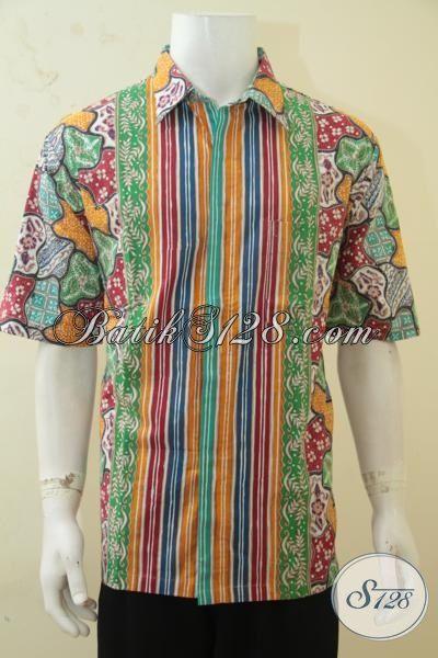 Hem Batik Trendy Motif Kombinasi Model Lengan Pendek, Busana Batik Seragam Kerja Berkelas Warna Menarik Untuk Pesta Dan Hangouts, Size XL