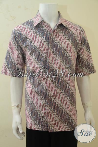 Pakaian Batik Jawa Produk Terbaru Dari Solo, Kemeja Batik Elegan Warna Soft Membuat Cowok Terlihat Menawan, Size XL