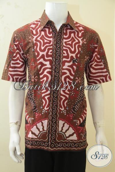 Baju Batik Pria Warna Coklat Bata Dengan Aneka Motif