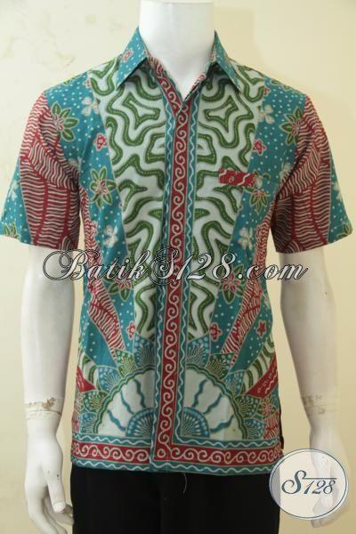 Kemeja Batik Warna Modern Motif Klasik, Batik Solo Asli Buatan Pengerajin Dengan Kwalitas Bagus Dan Harga Yang Murah Meriah, Size M – L