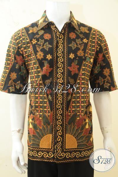 Hem Batik Lengan Pendek Motif Klasik, Baju Batik Lelaki Dewasa Tampil Modi Dan Rapi, Berbahan Batik Printing Halus Harga Terjangkau, Size XL