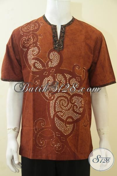 Hem Batik Lengan Pendek Warna Coklat, Busana Batik Tulis Kerah Shanghai Buatan Solo Kwalitas Premium Pas Buat Gaul [LD4331TK-M]