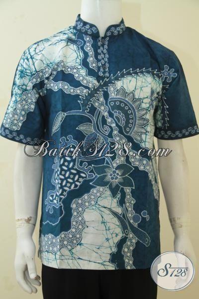 Baju Batik Style Religius, Kemeja Batik Koko Busana Lebaran, Pakaian Batik Tulis Kerah Shanghai Motif Modern Cowok Tampil Makin Keren, Size M
