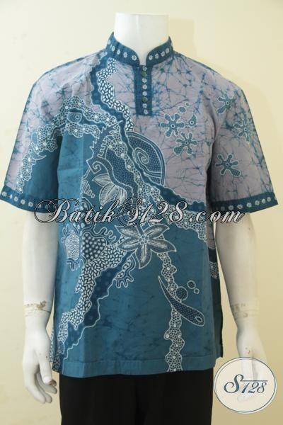 Baju Batik Koko Size L, Busana Batik Muslim Kerah Shanghai Proses Tulis Model Lengan Pendek, Kemeja Batik Halus Motif Keren Tampil Makin Beken