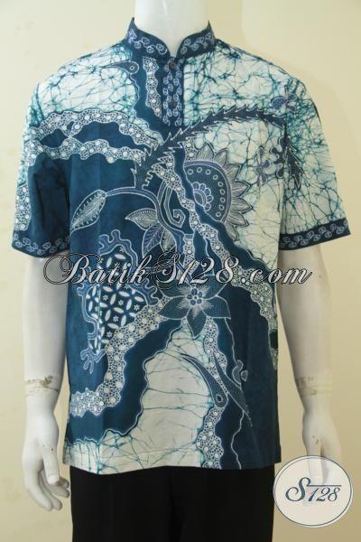 Busana Kemeja Batik Tulis Kerah Shanghai Size L, Pakaian Batik Lengan Pendek Motif Modern Cowok Makin Terlihat Modis Dan Gagah [LD4336TK-L]