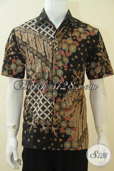 Kemeja Lengan Pendek Premium Buatan Solo, Baju Batik Pria Tampan Karir Sukses, Busana Batik Mewah Full Furing Cocok Untuk Ke Kantor, Size M