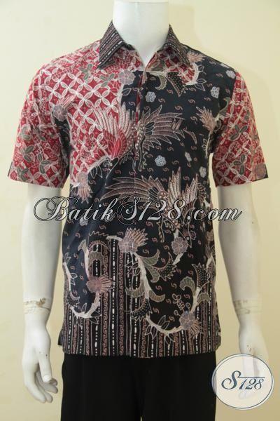 Baju Kerja Batik Kwalitas Mewah, Kemeja Batik Full Furing Lengan Pendek Motif Klasik, Cowok Terlihat Gagah Dan Tampan Maksimal, Size M
