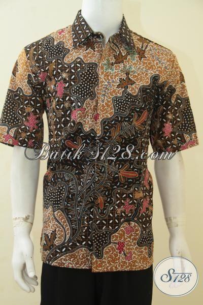 Baju Batik Tulis Halus Buatan Solo, Hem Batik Lengan Pendek Full Furing Mewah Tampil Modis, Pakaian Batik Klasik Untuk Acara Formal Di Jual Online [LD4346TF-L]