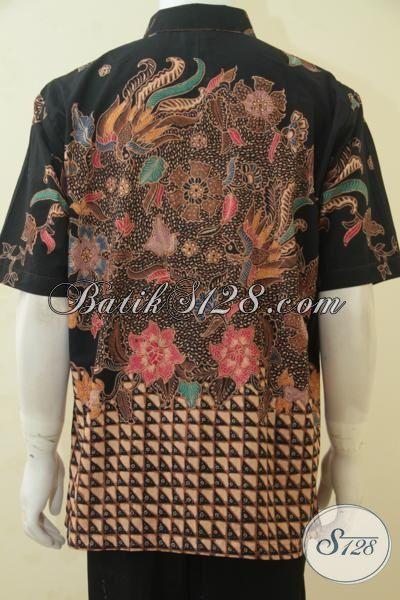 Hem Batik Tulis Soga Ukuran XL Lengan Pendek, Batik Kerja Premium Lelaki Dewasa, Baju Batik Full Furing Keren Dan Nyaman Di Pakai