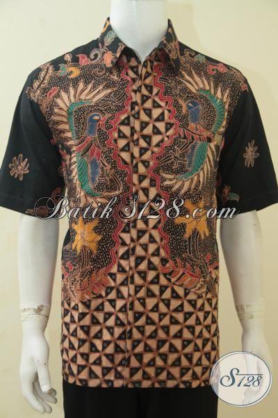 Baju Batik Lengan Pendek Modis Ukuran XL, Hem Batik Premium Tulis Soga Daleman Full Furing Seragam Kerja Mewah Untuk Pria Karir Sukses