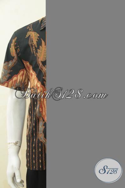 Baju Batik Tulis Soga Lengan Pendek, Hem Batik Produk Solo Ukuran M Kwalitas Bagus Motif Keren Tampil Makin Beken [LD4383TS-M]