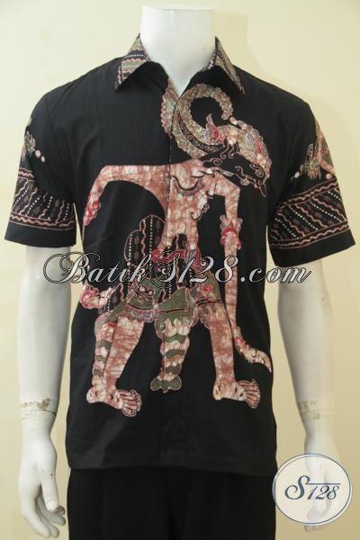 Kemeja Batik Wayang Warna Hitam, Baju Batik Motif Bima Model Lengan Pendek Proses Tulis Harga Grosir, Pas Banget Untuk Gaul Mas Bro [LD4388T-M]