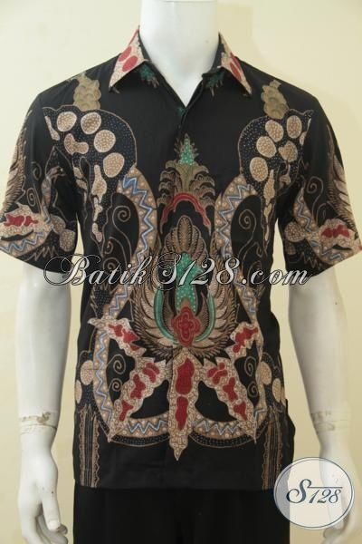 Jual Online Baju Batik Lengan Pendek Motif Paling Keren, Pakaian Batik Masa Kini Buatan Solo Proses Tulis Penunjang Penampilan Sempurna Pria Sejati [LD4391T-M]