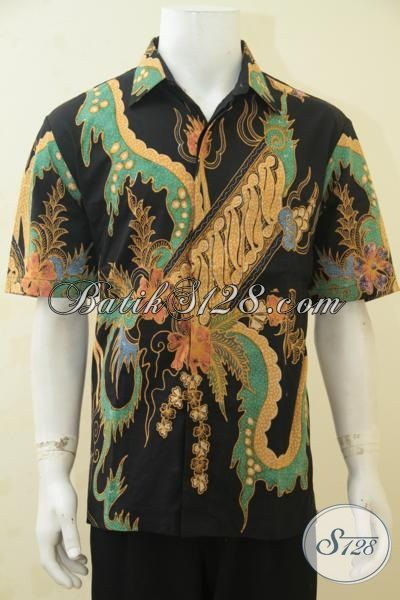 Kemeja Batik Klasik Modern Dengan Kombinasi Warna Mewah Nan Elegan, Batik Baju Modis Proses Tulis Model Lengan Pendek Exclusive Lelaki Dewasa Tampil Lebih Bergaya [LD4397T-L]