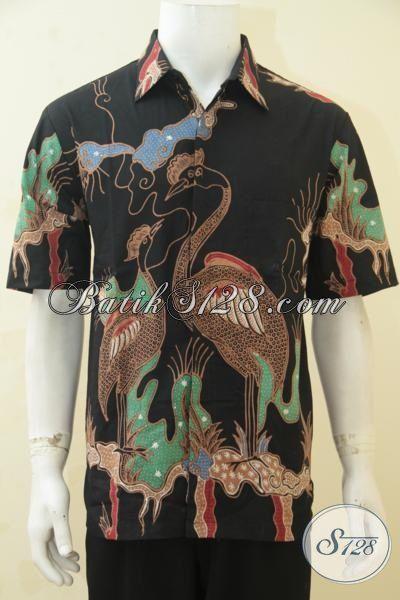Produk Busana Kemeja Batik Lengan Pendek Cowok Kantoran, Baju Batik Tulis Solo Halus Motif Bagus Cocok Juga Untuk Pesta, Size L