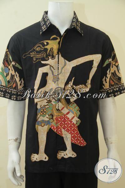 Kemeja Batik Pria Model Lengan Pendek, Baju Batik Tulis Motif Keren Wayang Petruk Pas Buat Kerja Dan Hangouts, Size XL