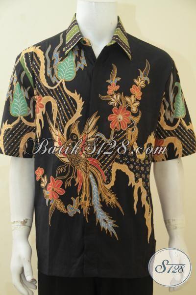 Pakaian Batik Keren Banget Buat Ke Kantor, Hem Batik Modis Trendy Proses Tulis, Baju Lengan Pendek Batik Harga Terjangkau, Size XL
