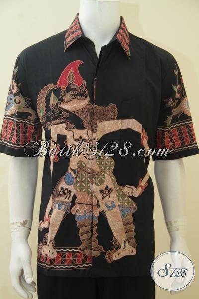 Baju Batik Wayang Motif Bima Trend Mode Pakaian Pria Masa Kini, Berbahan Halus Batik Tulis Solo Model Lengan Pendek Tampil Makin Gagah, Size XL