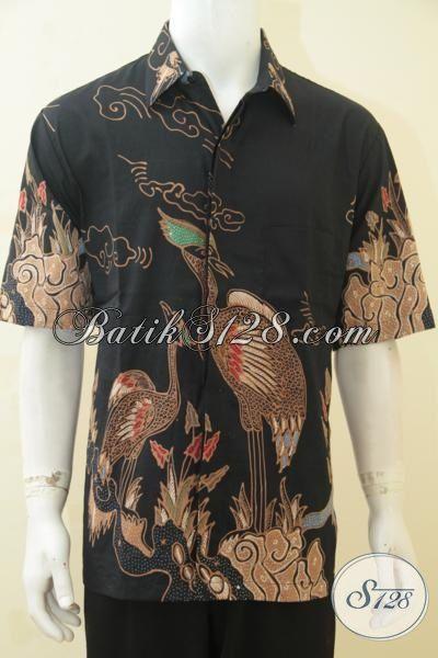 Baju Batik Hem Motif Burung, Busana Batik Tulis Istimewa harga Murah Kwalitas Bagus Model Lengan Pendek Warna Elegan, Size XL