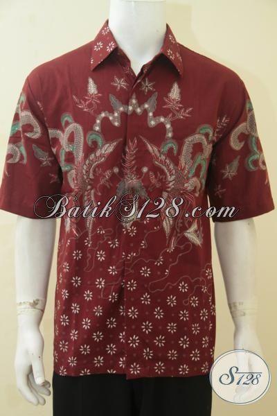 Hem Batik Merah Motif Keren Tampil Lebih Segar Dan Ganteng, Baju Batik Tulis Lengan Pendek Modis Istimewa ASli Buatan Solo, Size XL
