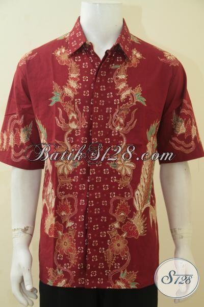 Jual Online Pakaian Batik Pris Lengan Pendek, Baju Batik Tulis Motif Terbaru Yang Lebih Keren Dan Fashionable, Batik Solo Kwalitas Mewah Harga Bawah [LD4407T-XL]