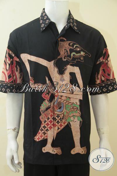 Baju Batik Wayang Bima Dasar Hitam Size 3L, Pakaian Batik XXL Spesial Untuk Pria Gemuk Bisa Tampil Modis