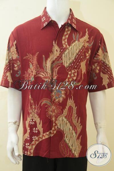 Hem Batik Merah Ukuran Jumbo, Baju Batik Lengan Pendek Proses Tulis Motif Keren Banget Size XXL, Spesial Buat Pria Berbadan Gemuk