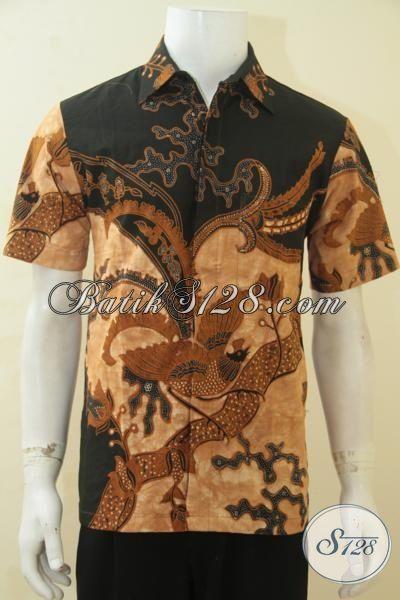 Busana Batik Kombinasi Tulis Trendy Warna Klasik, Baju Batik Lengan Pendek Elegan Cowok Makin Tampan, Size M
