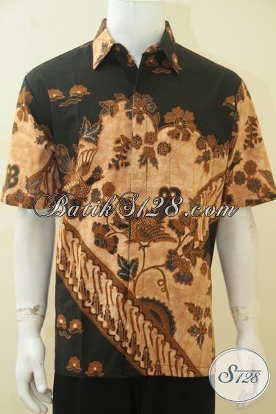 Jual Kemeja Batik Istimewa Buatan Solo, Baju Batik Trendy Kwalitas Halus Proses Kombinasi Tulis Motif Mewah [LD4416BT-L]