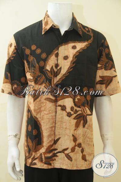 Baju Hem Batik Lengan Pendek Kombinasi Tulis Motif Bagus Berbahan Halus Dan Adem, Pakaian Batik Klasik Pria Makin Terlihat Elegan, Size XL