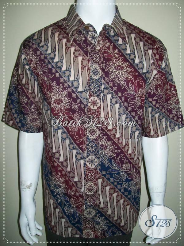 Kemeja Batik Pria Berkualitas, Batik Cap Gradasi Lengan Pendek [LD441CG-XL]